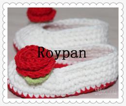 Wholesale Crochet Baby Flower Ballet Shoes - Baby crochet shoes flower Crochet baby girl shoes ballet shoes flower leaves ribbon 10 paris lot