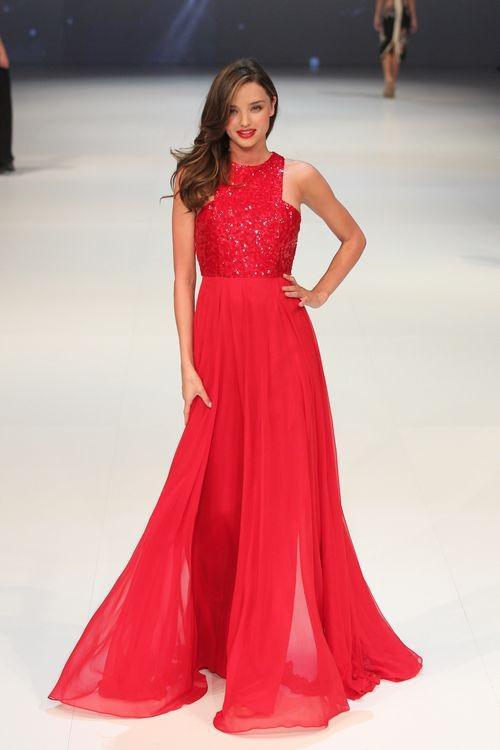 Miranda Kerr Hot Red Alta Pescoço Lantejoulas Chiffon Até O Chão Longo Celebridade Vestido de Noite Vestido de Noite CD046