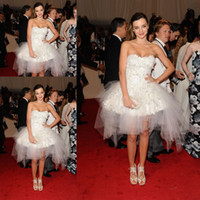 Wholesale Miranda Kerr Dress Sheath - Miranda Kerr Sexy Charming White Sweetheart Flower Accented Tulle Mini Short Celebrity Gown Evening Dress CD047