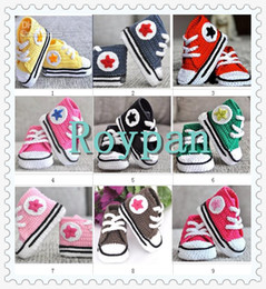 Wholesale Handmade Crochet Booties - 2013 Fashion Baby crochet sneakers tennis booties infant sprot shoes cotton shoes cotton Handmade shoes 10 pairs lot