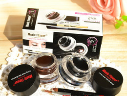 Wholesale Eyeliner Gel Black Brown - Music Flower Black + Brown Two-color Gel Eyeliner Smudge- Proof & Water Proof Eye Liner Eye Liner Eyeliner Gel Makeup Cosmetic + Brush M007