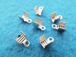 Wholesale Leather Ribbon Crimp - 4mmx7mm Silver tone Ribbon Leather Cord Crimp End Caps, Fastener Clasps, Connector,Crimp Beads