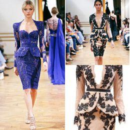 Wholesale Gold Scalloped Evening Dress - Graceful V-Neck Long Sleeves Keen Length Short Chiffon Applique Zuhair Murad Lace Cocltail Prom Evening Dresses Party Dress