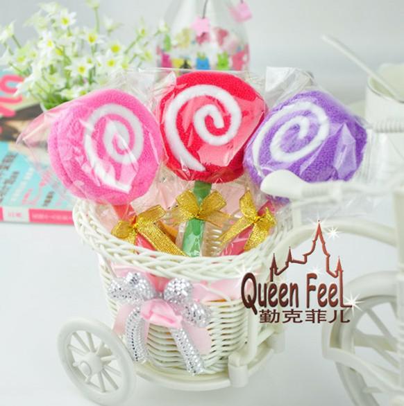 2015 Ny mode lollipops tårta handduk 20 * 20cm 100% bomull handduksfest gynnar bröllopsfödelsedaggåva julklapp 50st / mycket 30st / parti