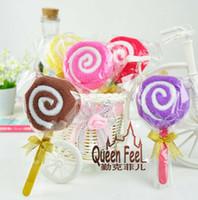 favores de la toalla al por mayor-Lollipop Candy Towel Cake 100% algodón Wedding Party Festival Favors Promoción de San Valentín amante de regalos 100 unids / lote