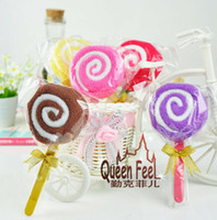 Wholesale Candy Towel Favors - Lollipop Candy Towel Cake 100% cotton Wedding Party Festival Favors Promotion Valentine's Lover Gift 200pcs lot 100pcs lot