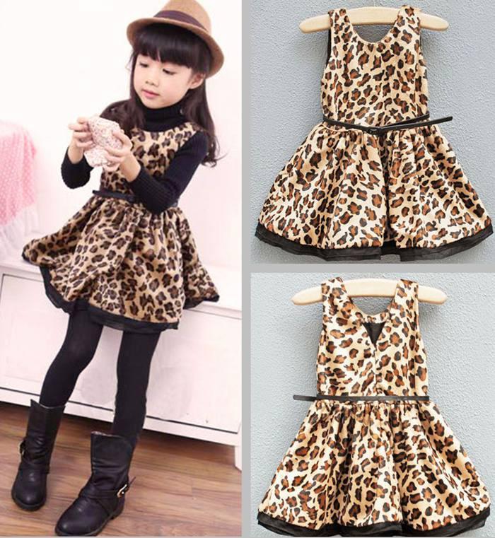 Little Girl Fall Winter Crew Neck Leopard Dress