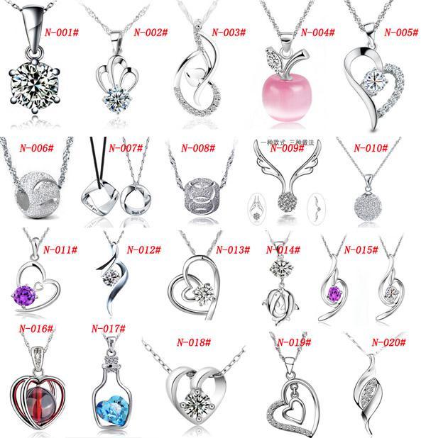 Mxza 925 sterling silver hänge halsband bröllop kristall smycken set med vitguld plätering olika stilar mode smycken