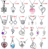 Wholesale Mixed Animal Necklaces - MXZA 925 Sterling Silver Pendant Necklace Wedding Crystal Jewelry Set With White gold plating Different Styles Mix Order Fashion Jewelry