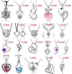 Wholesale 925 White Gold Pendant - MXZA 925 Sterling Silver Pendant Necklace Wedding Crystal Jewelry Set With White gold plating Different Styles Mix Order Fashion Jewelry