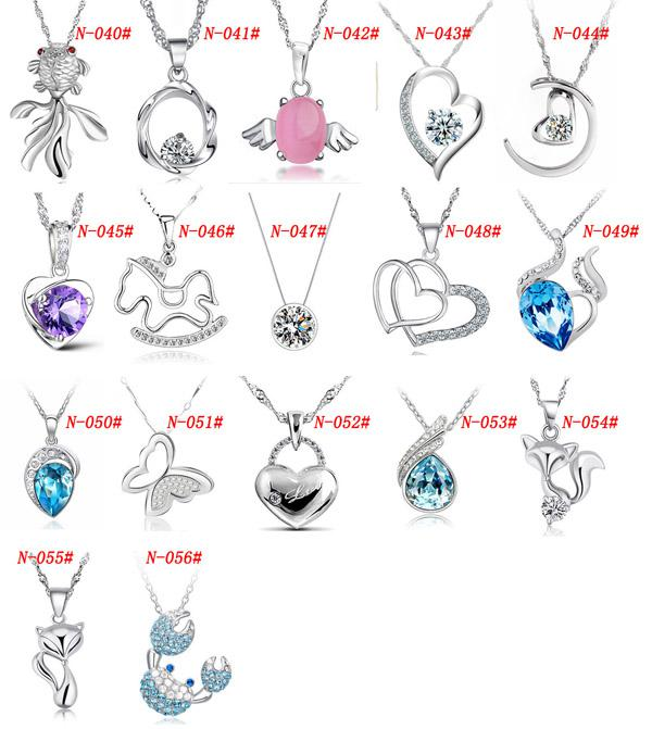MXZA 925 Sterling Silver Pendant Necklace Wedding Crystal Jewelry Set With White gold plating Different Styles Fashion Jewelry