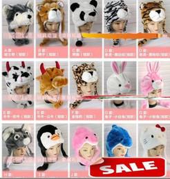 Wholesale fur scarf hat - Unisex Cartoon Animal Hat Long Fluffy Plush Cap MASK Scarf Hood 3D Earmuff Headgear Dance Party Beanie Hats Caps props Fur Costume Warmer
