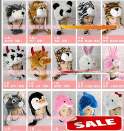 Barato Bonés Animais Do Chapéu Dos Desenhos Animados-Mais novo Cartoon Animal Hat Long Fluffy Plush Cap MASK Scarf Hood 3D Earmuff Headgear Dance Party Beanie Hats Caps adereços Fur Costume melhor