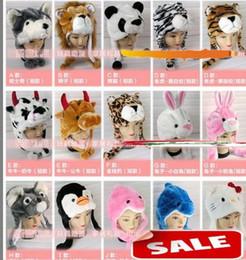 Wholesale Dancing Props - Newest Cartoon Animal Hat Long Fluffy Plush Cap MASK Scarf Hood 3D Earmuff Headgear Dance Party Beanie Hats Caps props Fur Costume best