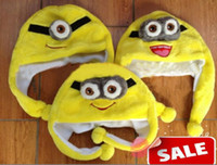 Wholesale Despicable Minion Plush Wholesale - Despicable Me Minion Hat Fluffy Plush Winter Warm Caps Hats 3D Earmuff Headgear Dance Party Beanie Hats Caps props Costume Christmas gifts