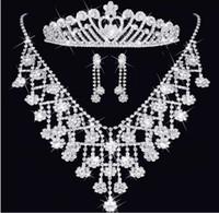 ingrosso set di collana di diamanti diadema-Moda diamante di cristallo Diademi corona orecchini collana di gioielli da sposa Set pettini a corona Accessori per capelli Fascino di nozze Set di gioielli