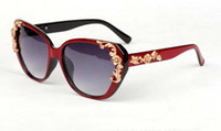 Wholesale Gold Pattern Framing - Last Stock Fashion Baroque Sunglasses Gold Rose Carve Patterns Designer Women Sun Glasses Brand Eyewear Mix 6 colors