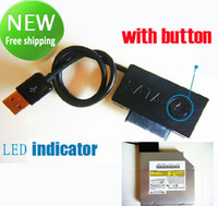 ide hdd caddy toptan satış-YENI USB 2.0 Kablosu sata 2nd HDD caddy DVD CD ROM Ultrabay İnce SATA LED göstergesi ile