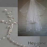 Wholesale fingertip pearl wedding veil resale online - Beaded Unique Wedding Bridal Veil New Arrival T two layer white ivory Crystal Pearl Exquisit