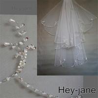 kristal inci perde toptan satış-Boncuklu Benzersiz Düğün Gelin Peçe Ücretsiz Kargo Yeni Varış 2 T iki katmanlı beyaz fildişi Kristal İnci Exquisit