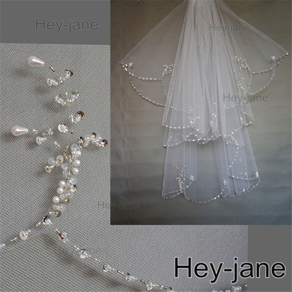 top popular Beaded Unique Wedding Bridal Veil Free Shipping New Arrival 2T two layer white ivory Crystal Pearl Exquisit 2021
