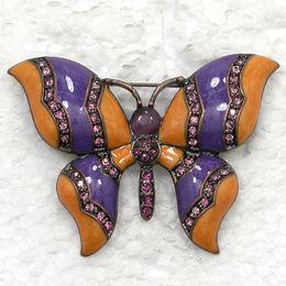 $enCountryForm.capitalKeyWord Canada - Wholesale Crystal Rhinestone Enameling Butterfly Brooches Pins Fashion Brooch Jewelry gift C942