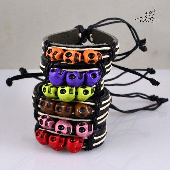 / mixfärger 3 skalle läder armband skelett mode stam armband mode smycken