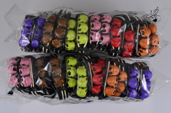 36 stk / partij Mix Kleuren 3 Schedel Lederen Armband Skeleton Fashion Tribe Armbanden Mode-sieraden