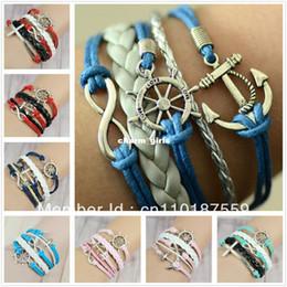 2019 bracelet d'ancrage à la main Handmade Handmade Infinity ancre Rudder pendentif en argent antique bleu whit bracelet en argent Livraison gratuite !!! bracelet d'ancrage à la main pas cher