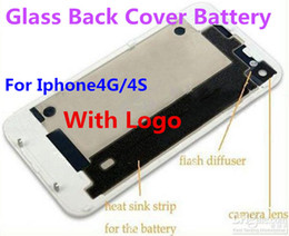 Wholesale Iphone 4s Back Cover Replacement - High Quality Glass Back Rear Cover Battery Door Housing Replacement For Iphone 4 4S 4G Repair Parts