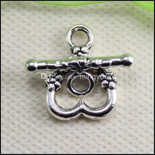 14mmx 18mm,Toggle bar 20mm Copper Buckle Hook Tibetan Silver Heart Toggle Clasps Connectors Jewelry Findings