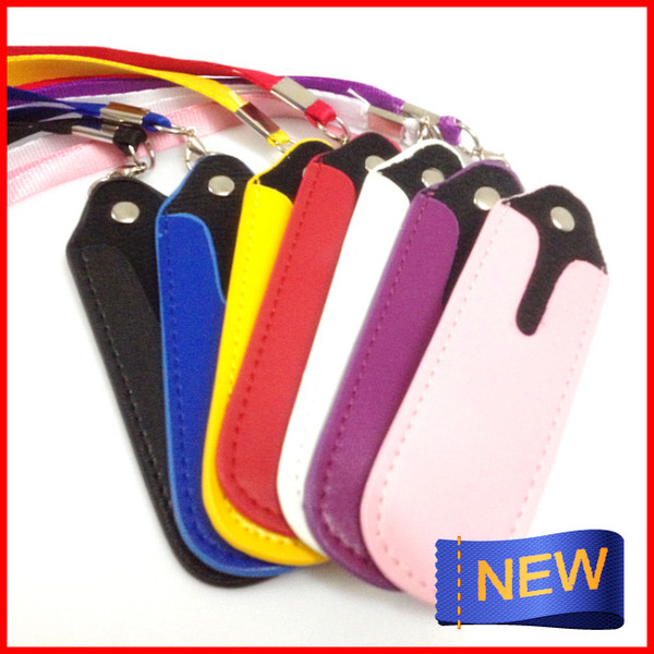 20pcs a lot Freeshiping good quality Colorful Leather lanyard ego carry bag EGO necklace leather bag for ego/ego-t/ ego-w/ ce4/ce4+/ce5/ce5