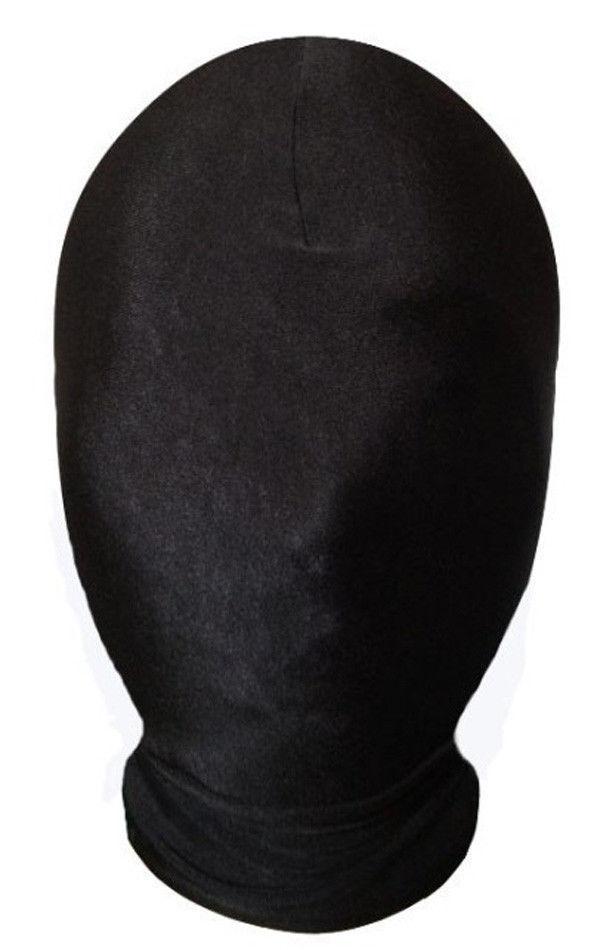 Halloween Lycra Spandex Zentai Kostym Vit All Mask / Hood för Slenderman