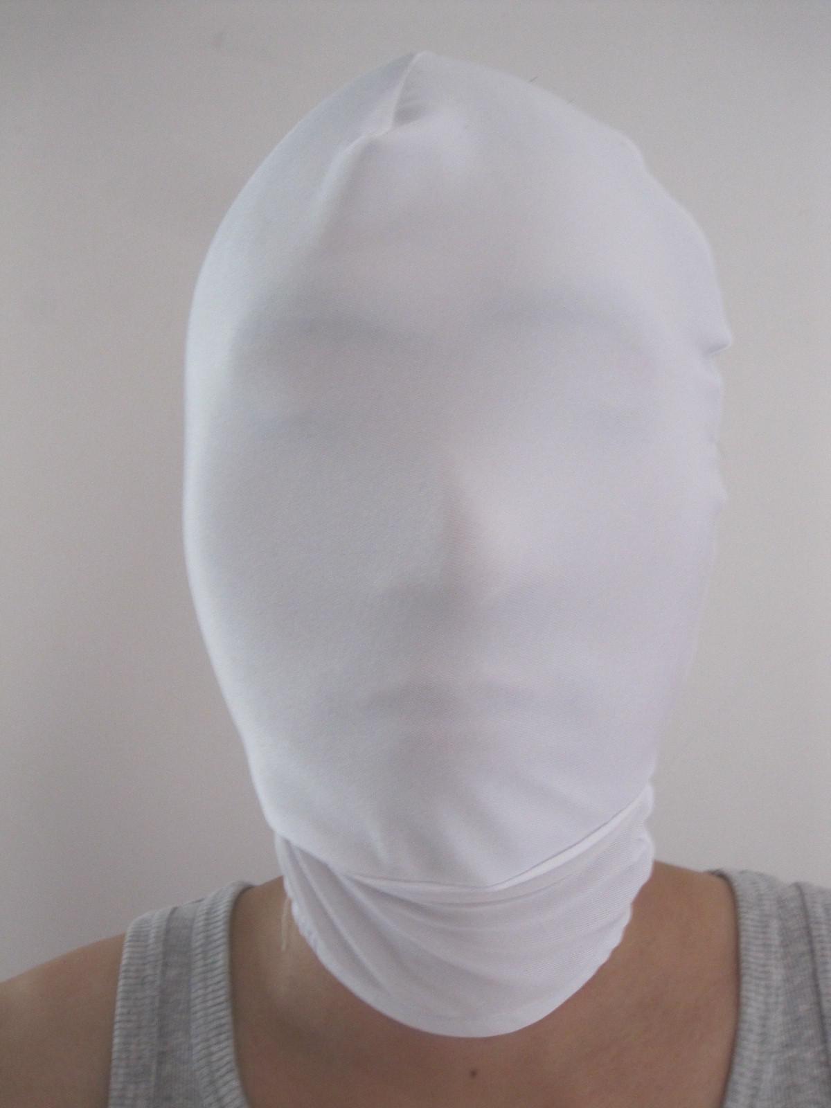 costume de zentai de lycra spandex d'halloween blanc tout masque / capuche pour slenderman