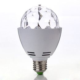 Wholesale Led Disco Ball Light E27 - DHL free Crystal Ball Stage Lights Bulb Led E27 RGB 3W Rotating Lamp For Party Disco DJ Bar AC85-260V led bulb best2011