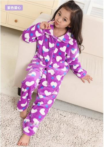 Lovely Nice Girls' 5 Sizes Chosen 4 Patterns Thick Flannel Pajamas ...