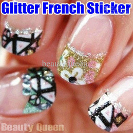 Wholesale Korea 3d Nail Sticker - Wholesale - New Arrival! Over 50 style Korea Design 3D Glitter Nail Art French Sticker Tips Decal Decoration HQ!