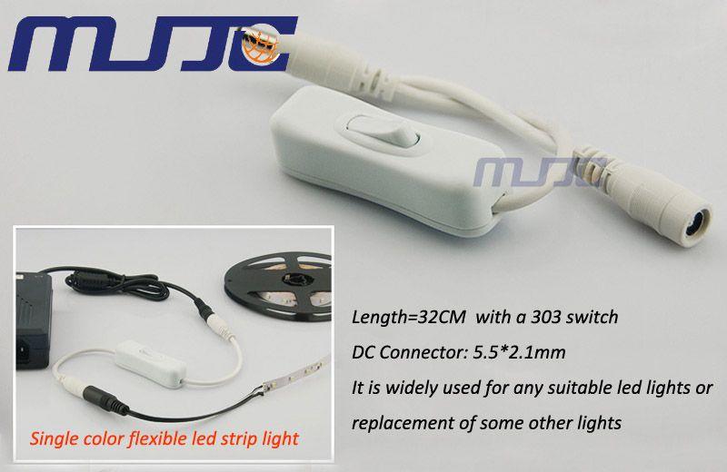 10 UNIDS Hembra + Conector DC macho con 304 Interruptor de encendido / apagado para LED Strip Light o LED Power supply Envío Gratis