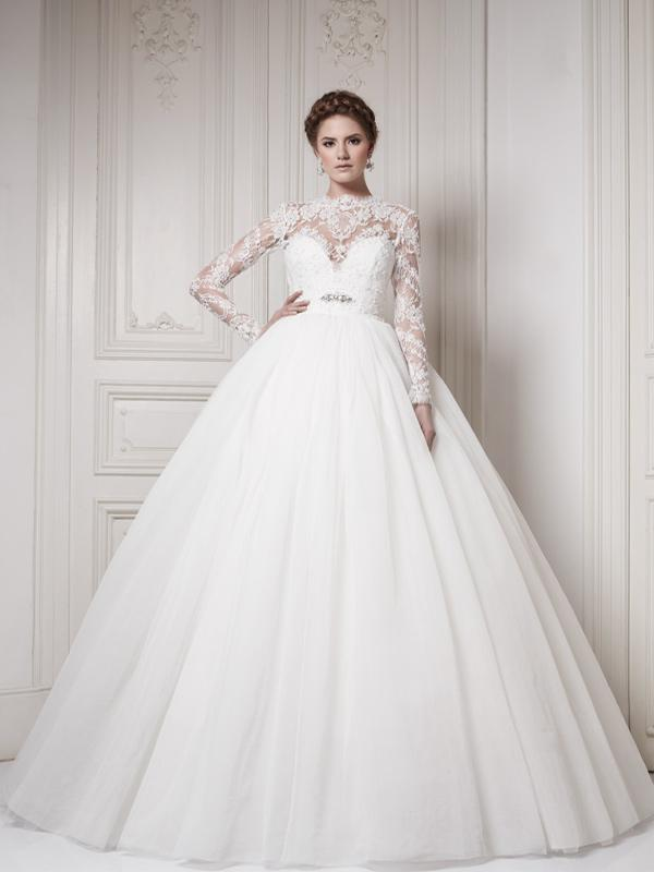 Ersa Atelier 2014 High Neck Long Sleeves Wedding Dresses