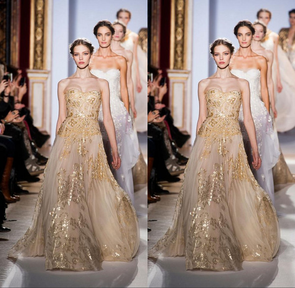 Newest Fashion Gold Hot Sweetheart A-Line Organza Lace Applique Sequins Zuhair Murad Prom/Evening Dresses Party Dress Celebrity Dresses