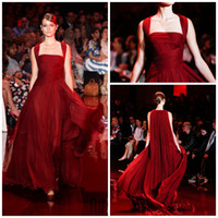 Wholesale Elie Saab Spaghetti Strap Dress - 2014 Elie Saab Red carpet Straps A line Full length Burgundy Sexy formal evening dresses Hot sale Party gowns Celebrity dress party gowns