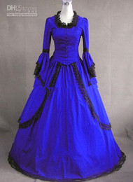Wholesale Cosplay Victorian Dress Blue - Long Sleeved Black Lace Royal Blue Vintage Gothic Victorian Wedding Dresses Custom Lolita Cosplay