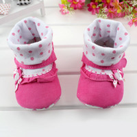 Wholesale Toddler Girl Gray Boots - BX75 Top Fashion Lovely Bow Dots Cute Newborn Soft Baby Shoe First Walker Shoes Toddler Baby Girls Infant Boot