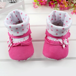 Wholesale Toddler Soft Boots - BX75 Top Fashion Lovely Bow Dots Cute Newborn Soft Baby Shoe First Walker Shoes Toddler Baby Girls Infant Boot