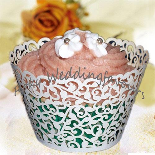 الشحن مجانا 100 قطع الدانتيل المجمع cupcake الليزر قص الزفاف دش المجمع cupcake تفضل مع جودة عالية ورقة اللؤلؤ