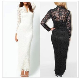 Wholesale Scallop Neck - Fashion Ladies' Sexy V-Neck Slim Scallop Neck Lace Women Maxi Dress Long Sleeve White Black S-6XL free shipping with tracking number 833