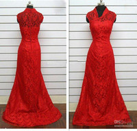 Wholesale Dress Best Popular - Custom Made Best Popular Chinese Collar Wedding Dress in Red Color Lace