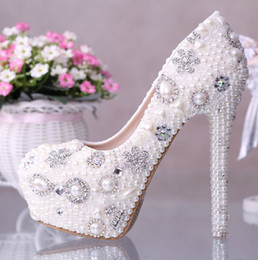 Wholesale White Shine Wedding Shoes - 2015 High Steel Crystal Beades Wedding Bridal Shoes Cow Leather Shoes Shining Gorgeous pumps ladies shoes
