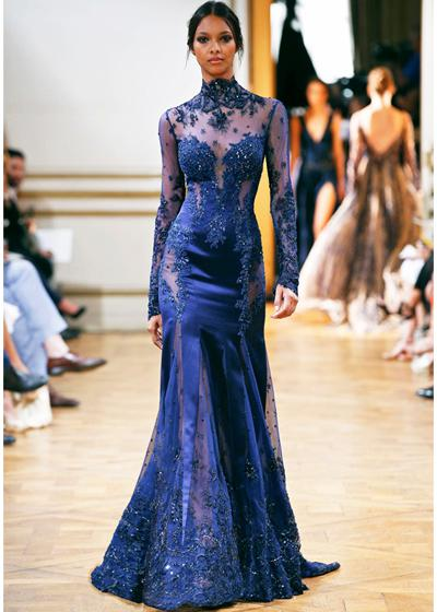 Luxury! Royal Blue Sexy See Through High Neck Long Sleeve Mermaid/Trumpet Organza Lace Zuhair Murad Crystal Prom/Evening Dresses Party Dress