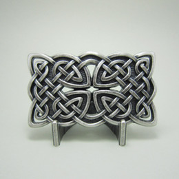 Wholesale Car Brand Belt Buckles - Silver Plated Vintage Celtic Cross Knot Belt Buckle BUCKLE-WT133SL Free Shipping Brand New In Stock